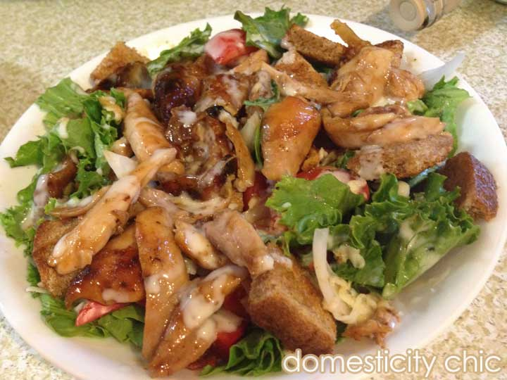 BBQ Chicken & Ranch salad with home made croutons.